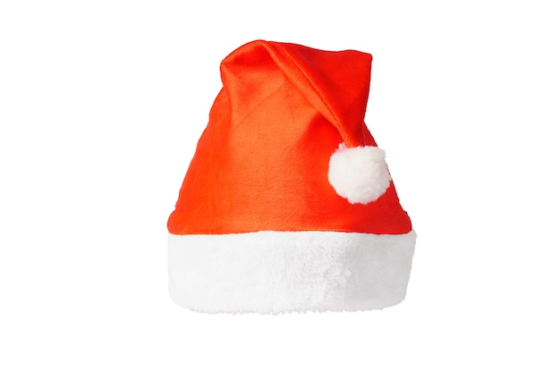 Czerwony kapelusz świętego mikołaja na białym tle. kapelusz imprezowy