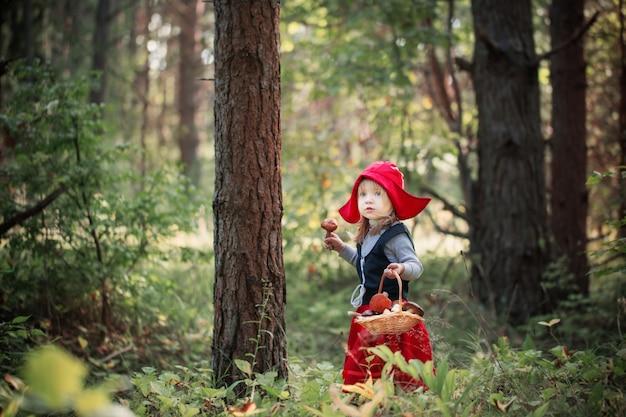 Czerwony kapturek w lesie