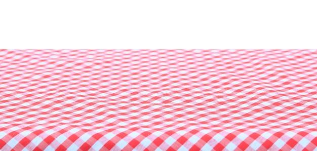 Czerwony klasyczny obrus w kratkę na białym tle