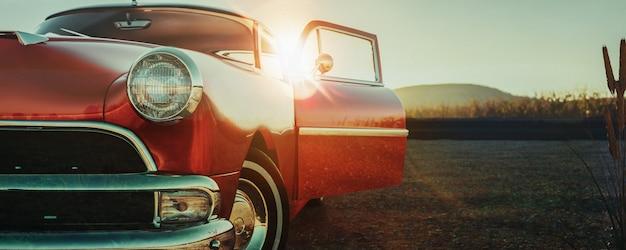 Czerwony klasyczny samochód.