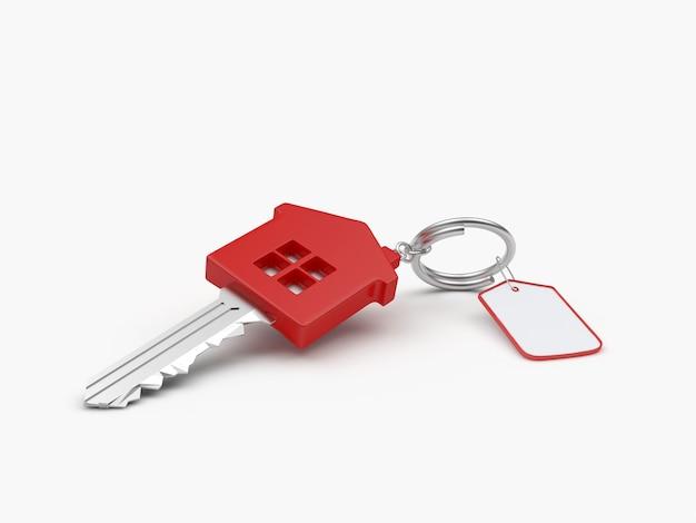 Czerwony klucz dom z pustym znacznikiem