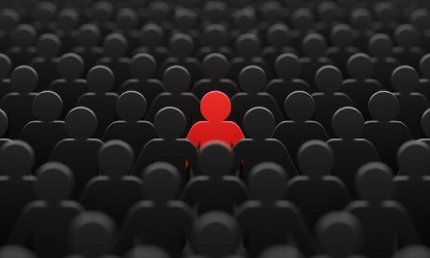 Czerwony kolor figurki człowieka wśród tłumu czarnych mężczyzn tło