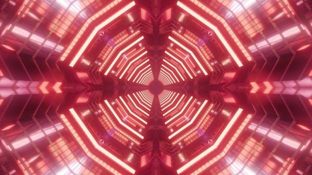 Czerwony kolorowy futurystyczny ilustracja 3d abstrakcyjny wzór tła wirtualnego niekończącego się tunelu utworzonego przez świecące linie geometryczne