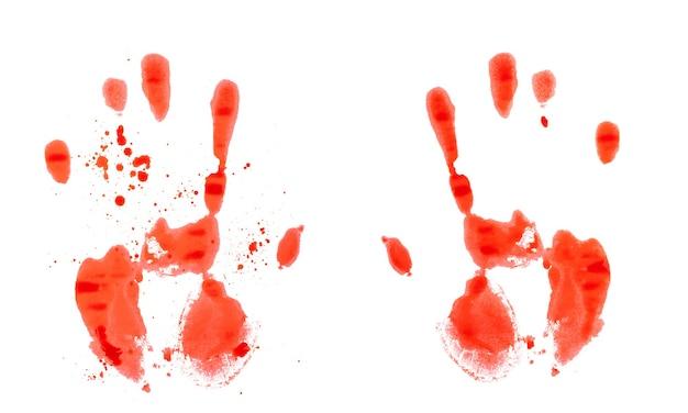 Czerwony krwawy odcisk dłoni na białym tle