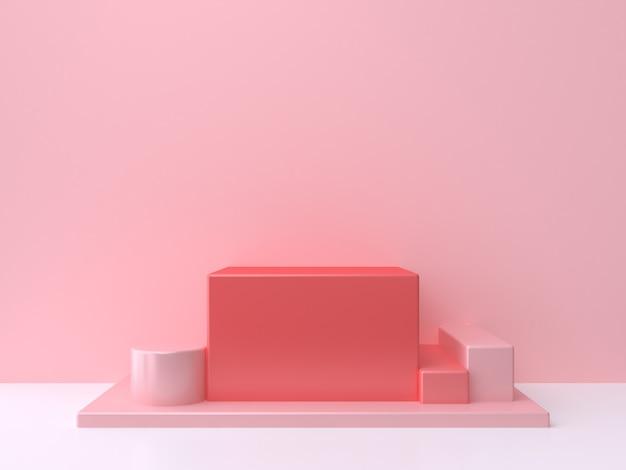 Czerwony kwadrat kostki podium różowe ściany białe podłogi renderowania 3d minimalne abstrakcyjne tło
