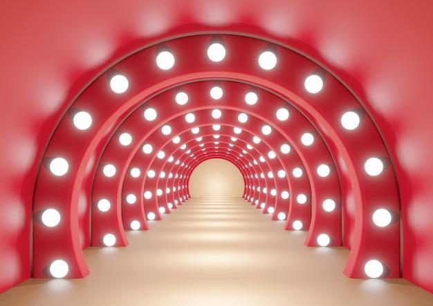 Czerwony łuk lub tunel na pomarańczowym korytarzu z oświetleniem tła renderowania 3d