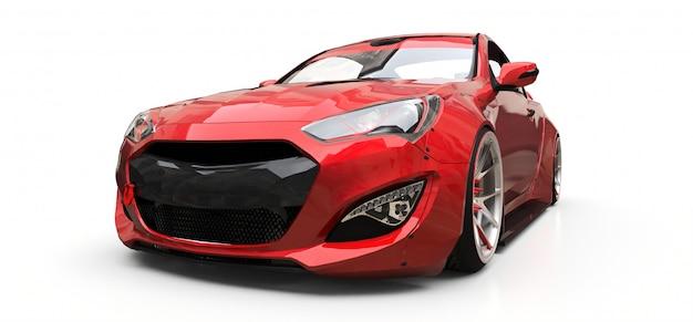 Czerwony mały sporta samochodu coupe na białym tle