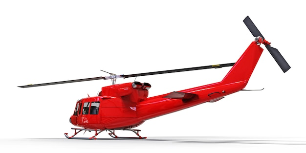 Czerwony mały wojskowy przewieziony helikopter na białym odosobnionym tle