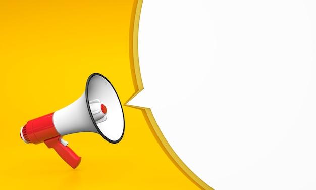 Czerwony megafon na żółtym tle i okrągły komunikat bąbelkowy. szablon. renderowania 3d.