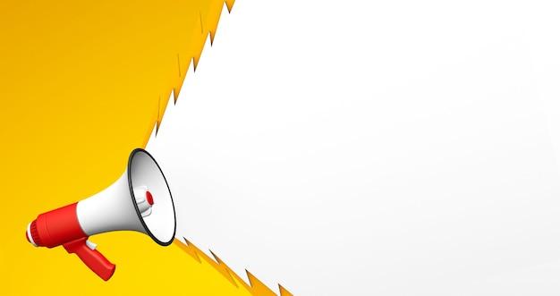 Czerwony megafon z postrzępioną krzyczącą bańką na żółtym tle. renderowania 3d. skopiuj miejsce na tekst.