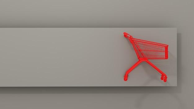 Czerwony metalowy kosz na zakupy