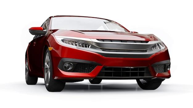 Czerwony miejski rodzinny sedan średniej wielkości na białym jednolitym tle. renderowania 3d.
