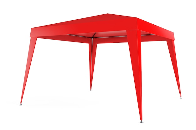 Czerwony namiot z baldachimem na białym tle