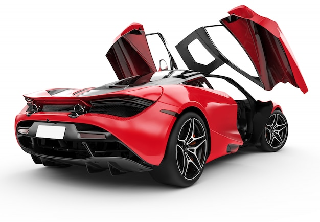 Czerwony nowożytny sportowy samochód z oper drzwiami