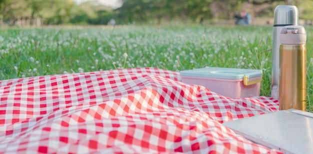 Czerwony obrus w kratkę tekstury z akcesoriami na zielonej trawie w ogrodzie