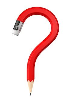 Czerwony ołówek znak zapytania na białym tle