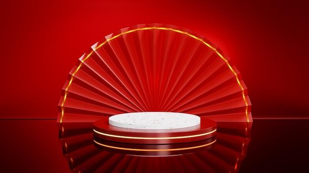 Czerwony otwarty chiński składany wentylator i okrągła scena na czerwonym błyszczącym tle do prezentacji produktów.
