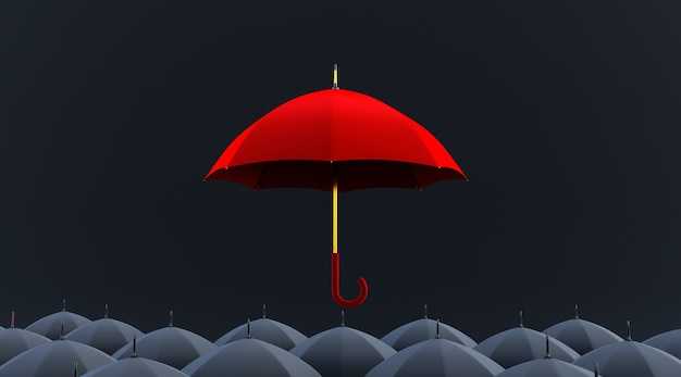 Czerwony parasol wyróżnia się z tłumu wielu czarnych parasoli. renderowania 3d