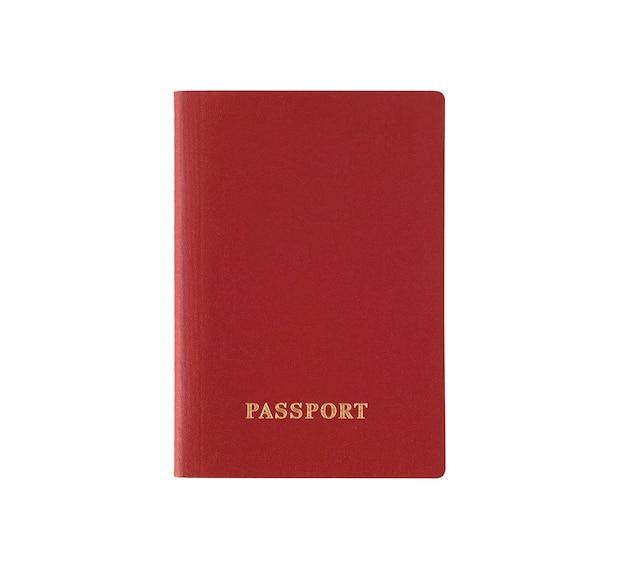 Czerwony paszport zagraniczny na białym tle. dokument na wyjazd za granicę