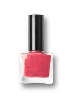 Czerwony paznokci polski butelki na białym tle