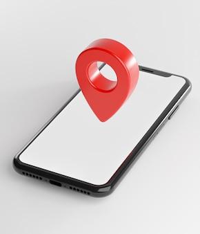 Czerwony pin gps na smartfonie. renderowanie 3d ekranu szablonu