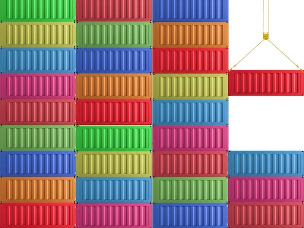 Czerwony pojemnik renderujący 3d wiszący z kolorowymi pojemnikami
