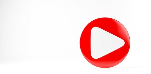 Czerwony przycisk odtwarzania ikona wideo mediów społecznościowych znak symbol gracza logo ilustracja renderowania 3d