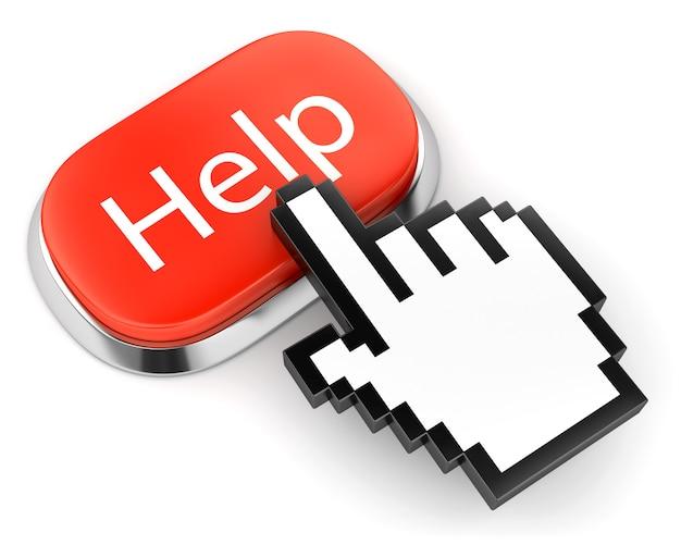 Czerwony przycisk z tekstem pomocy i wyborem łącza ręcznego mysz komputerowa curso na białym tle