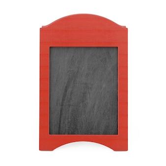 Czerwony puste drewniane menu tablica odkryty wyświetlacz na białym tle. renderowanie 3d
