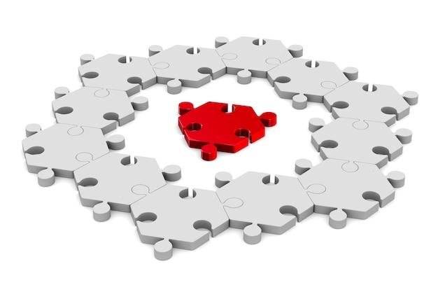 Czerwony puzzle na białym tle. izolowana ilustracja 3d