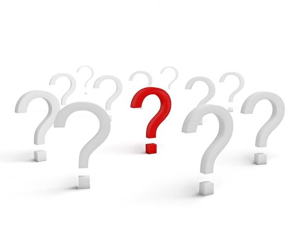 Czerwony pytanie symbol otaczający białymi znakami odizolowywającymi