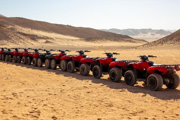Czerwony quad cycle na saharze. ekstremalna rozrywka.