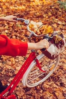 Czerwony rower vintage z koszem w lesie jesienią