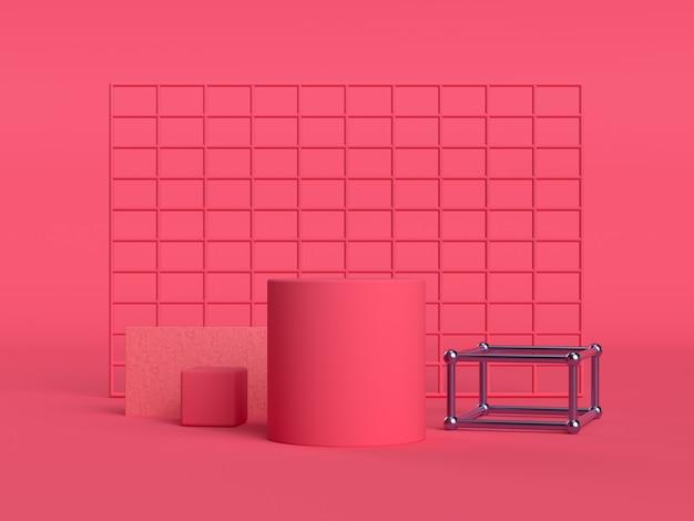 Czerwony / różowy scena kwadratowa ściana geometryczny zestaw sceniczny