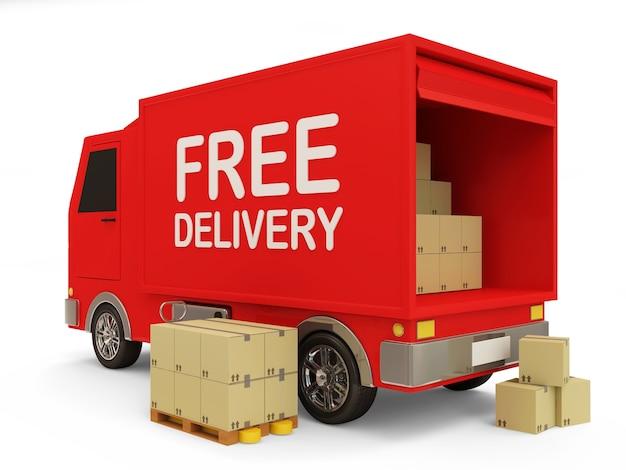 Czerwony samochód dostawczy z koncepcją bezpłatnej dostawy pudełek