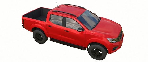 Czerwony samochód dostawczy z podwójną kabiną