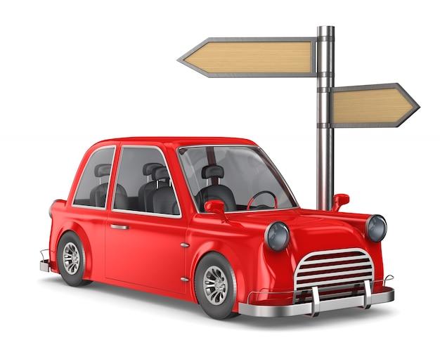 Czerwony samochód i wskaźnik drogowy na białej przestrzeni