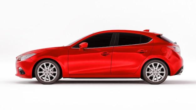 Czerwony samochód miejski z pustą powierzchnią do kreatywnego projektowania. renderowanie 3d.