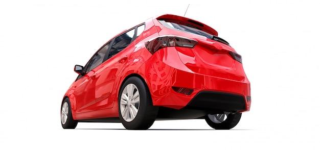 Czerwony samochód miejski z pustą powierzchnią do kreatywnego projektowania