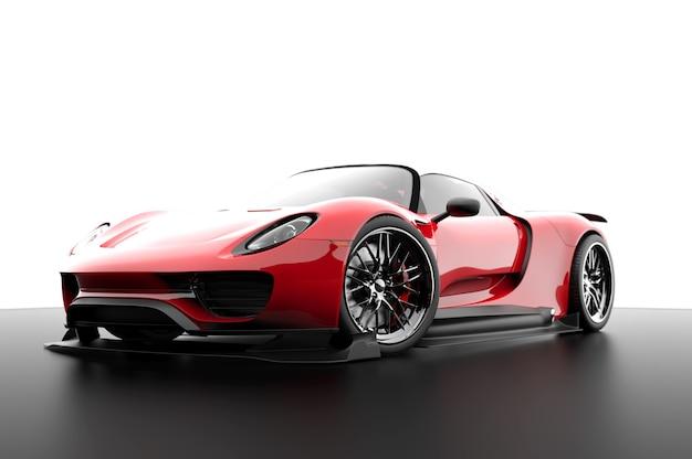 Czerwony samochód sportowy rodzajowy na białym tle