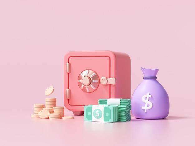 Czerwony sejf z monetami i stosami widoku czcionki dolara gotówki na różowo