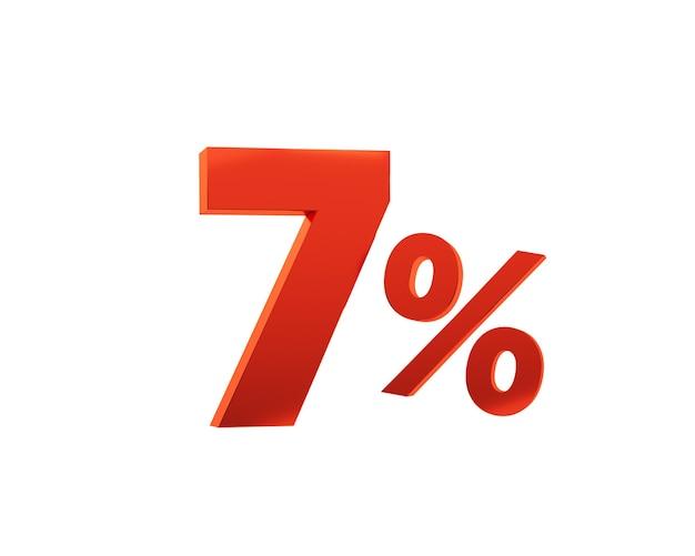 Czerwony siedem procent na białym tle. ilustracja renderowania 3d.