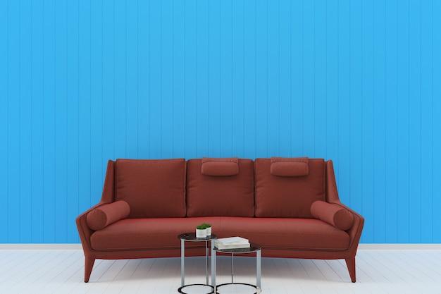 Czerwony sofa niebieski pastelowe ściany białe tło podłogi z drewna tekstury