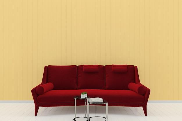Czerwony sofa żółty pastelowy ściana biały drewno podłoga tło tekstura szablon książki