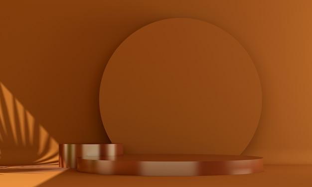 Czerwony stojak kosmetyczny na podium z białą ścianą renderowania 3d