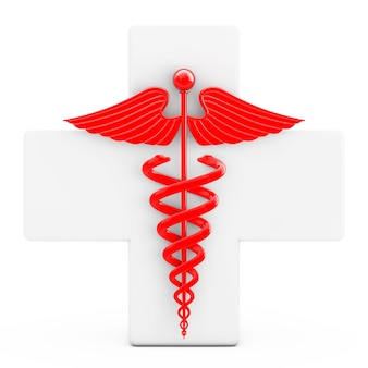 Czerwony symbol kaduceusza przed białym krzyżem na białym tle. renderowanie 3d