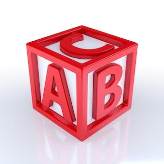 Czerwony sześcian z literami a, b i c na białym tle. renderowanie 3d