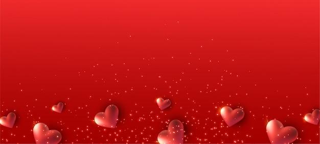 Czerwony sztandar z 3d serca