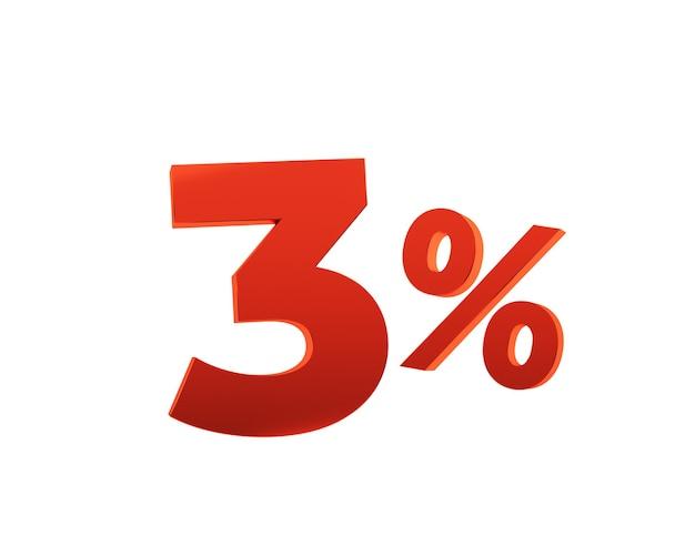 Czerwony trzy procent na białym tle. ilustracja renderowania 3d.