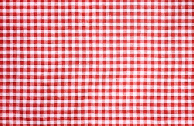 Czerwony w kratkę tablecloth tekstury tło